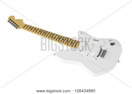 White Electric Guitar Isolated Over White