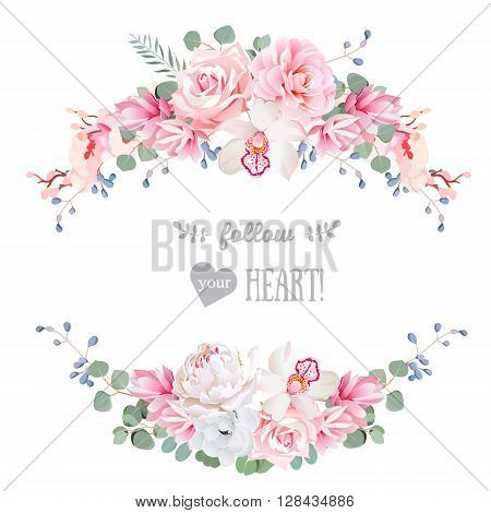 Cute wedding floral vector design frame. Rose peony orchid anemone pink flowers eucaliptus leaves. Floral banner stripe elements.