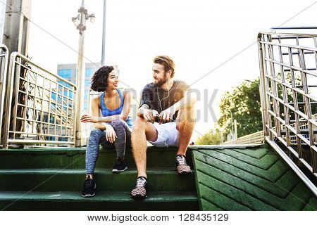 Couple Lifestyle Athlete Attractive Summer Fit Concept