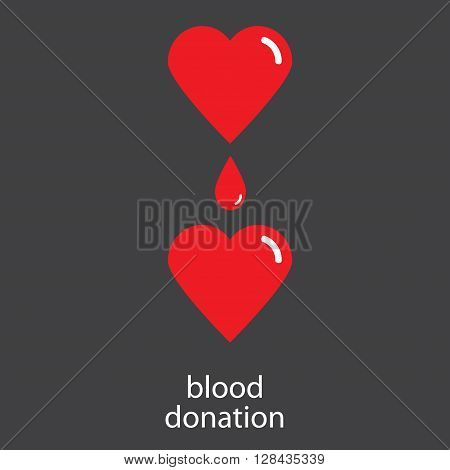 Blood donation. Blood transfusion. Vector conceptual illustration of blood donation from heart to heart.