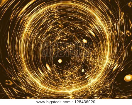 abstract background of chaotic golden with a metallic sheen circles. Tech modern background -computer-generated image. Fractal artwork for covers, banners, web design.