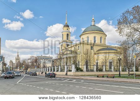 Moscow Russia - April 24 2016: Cathedral of Ascension near Nikitsky Gate. Orthodox Church of the Moscow diocese built in 1816.
