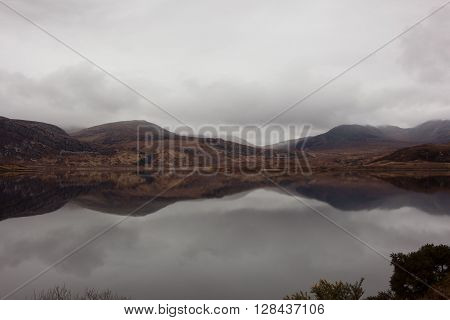 Loch Stack with the mountains behind , Scotland