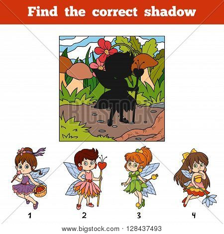 Find The Correct Shadow. Find Fairy Girl By Shadow