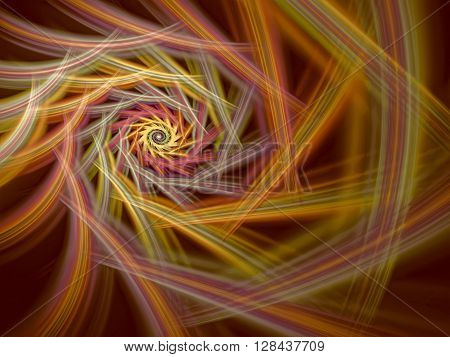 Abstract computer-generated image colored spiral on a dark background. Fractal background or graphic desigh element for t-shirt prints, posters, covers.