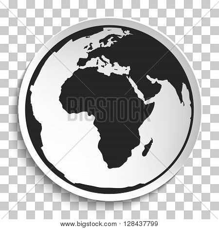 Earth Globe Icon on White Plate. Earth on Plate Vector Illustration. Black Earth with Africa View Travel and Transportation Concept on Transparent background