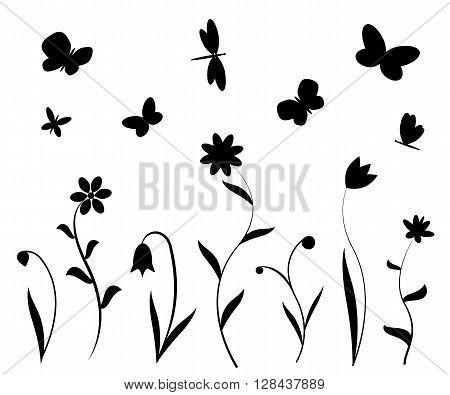 Black flowers butterflies and dragonflies silhouettes. Vector backgrounds, prints, textile decoration.