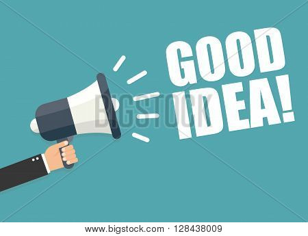 Hand holding megaphone - good idea vector illustration isolated on background