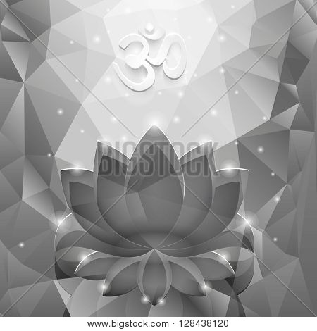 Black lotus in the glass polygon background. The white symbol OM.
