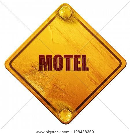 Vacancy sign for motel, 3D rendering, isolated grunge yellow road sign