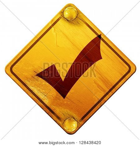 Approved tick with smooth lines, 3D rendering, isolated grunge yellow sign