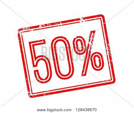 50% Off Red Rubber Stamp On White