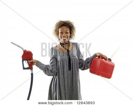 Woman holding fuel pump nozzle and gas storage container.