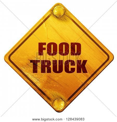 food truck, 3D rendering, isolated grunge yellow road sign