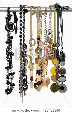 Set of woman many belts on hangers