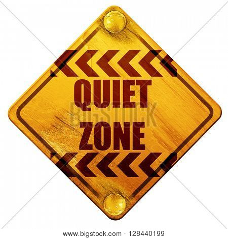 Quiet zone sign, 3D rendering, isolated grunge yellow road sign