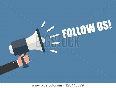 Follow us vector illustration isolated on background