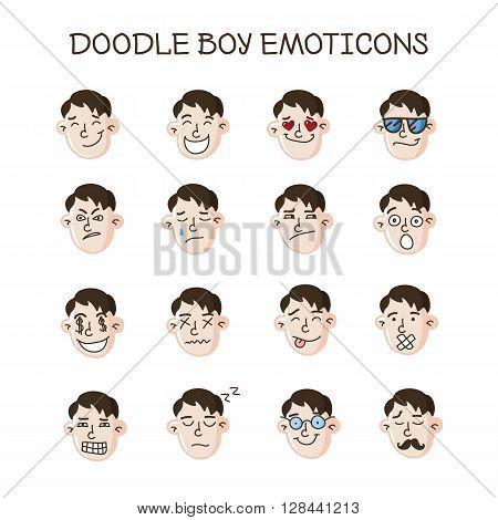 Vector cute doodle boy heads collection. Boy emoticons set. Emoji icons