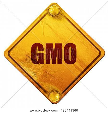 gmo, 3D rendering, isolated grunge yellow road sign