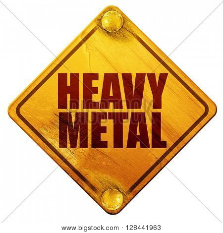 heavy metal music, 3D rendering, isolated grunge yellow road sign