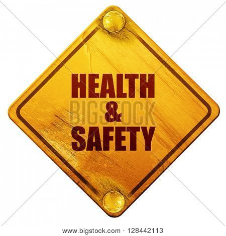 health , 3D rendering, isolated grunge yellow road sign