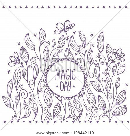 Beautiful card with amazing flowers on a background. Hand drawn vector illustration