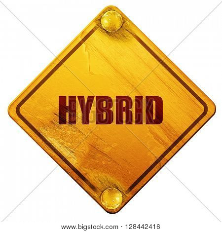 hybrid, 3D rendering, isolated grunge yellow road sign