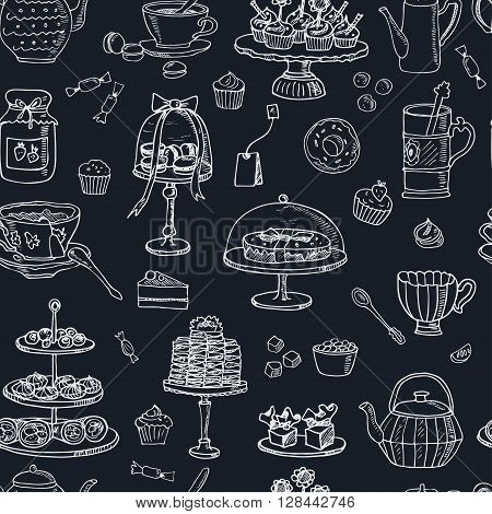 Tea time  doodle seamless pattern. Sketch. Tea bag, mugs, cupcake, macaroon and muffin. Hand drawn spa items collection. Vector illustration  for design menus, recipes and packages product.