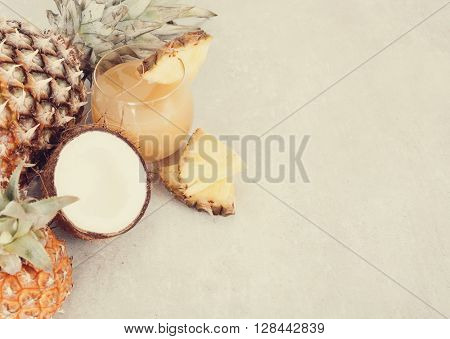 Refreshing pineapple juice on the table