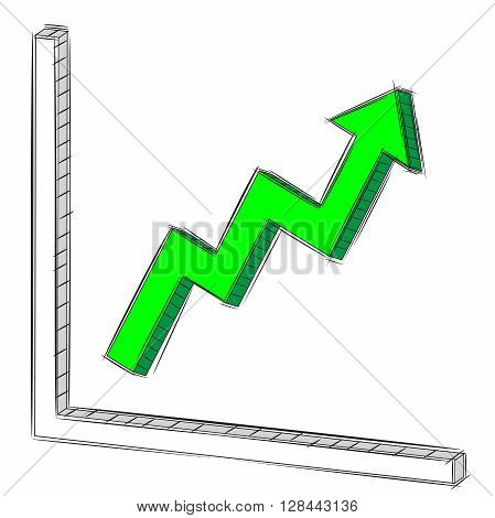 Vector Illustration Doodle of Uptrend  Chart and Graph
