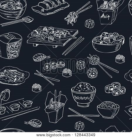 Asian Food. Decorative chinese food icons seamless pattern. Vector illustration for design menus, recipes and packages product.