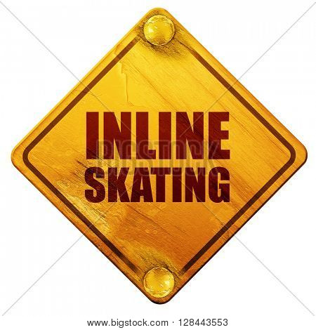 inline skating, 3D rendering, isolated grunge yellow road sign