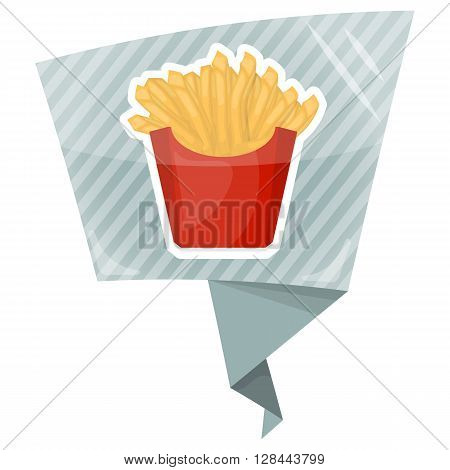 French fries colorful icon. Fries vector illustration. Fries in box