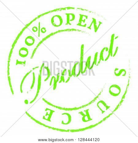 Open Source Green Rubber Stamp On White