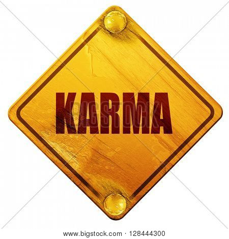karma, 3D rendering, isolated grunge yellow road sign