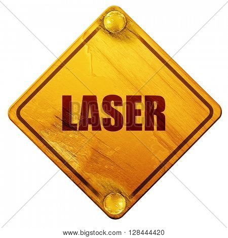 laser, 3D rendering, isolated grunge yellow road sign