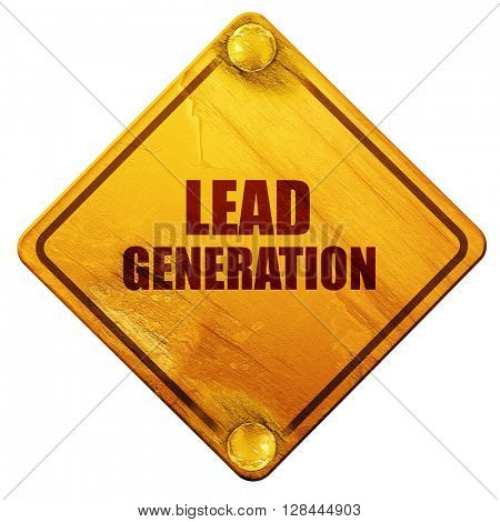 lead generation, 3D rendering, isolated grunge yellow road sign