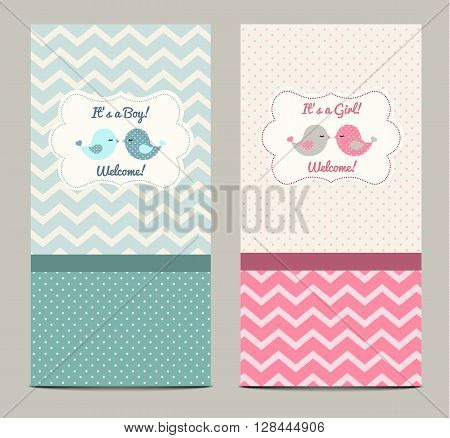 Two baby showers with cute birds, vector illustration, eps 10 with tranparency