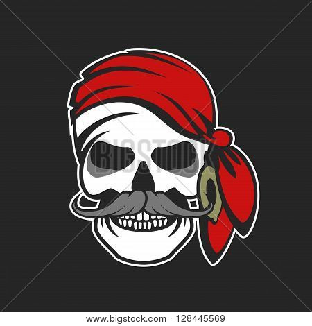 vector emblem isolated on a pirate skull in the head scarf on a black background
