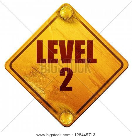 level 2, 3D rendering, isolated grunge yellow road sign