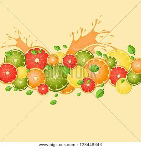 Citrus (lemon lime grapefruit orange) with splashes of juice and mint leaves