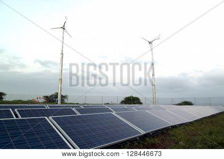 A shot of solar panels and windmills in a social project in Vale da Custa, Santiago island, Cape Verde