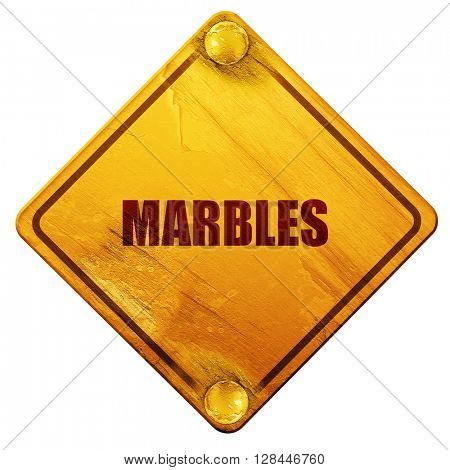 marbles, 3D rendering, isolated grunge yellow road sign