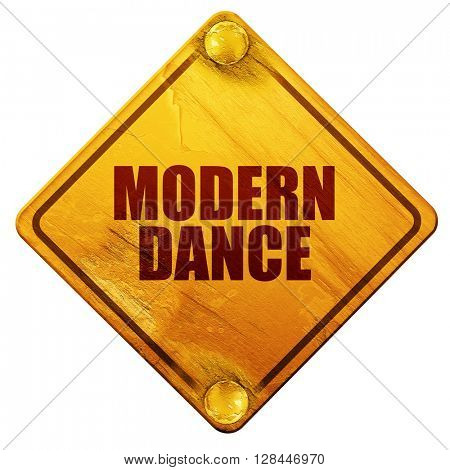 modern dance, 3D rendering, isolated grunge yellow road sign