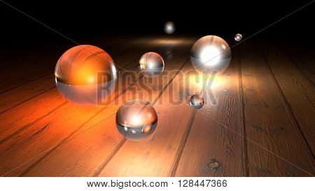 Fantasy luminescent realistic glass balls on a realistic wood floor floor. Depth of field settings. 3D rendering.