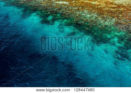Aerial shot of the coral reef
