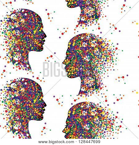 Seamless pattern with people faces. Man and woman head icons. Abstract couple profile. Colorful vector illustration.