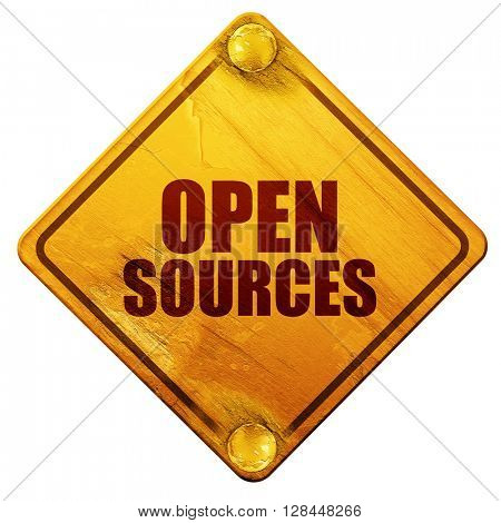 open sources, 3D rendering, isolated grunge yellow road sign