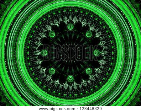 Abstract green mandala flower - computer-generated image. Fractal artwork - circle with an elegant ornament. Sacred geometry. Trendy fractal for web-design, posters, covers.