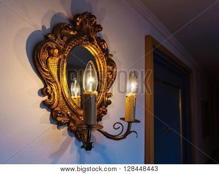 Antique Lamp And Mirror